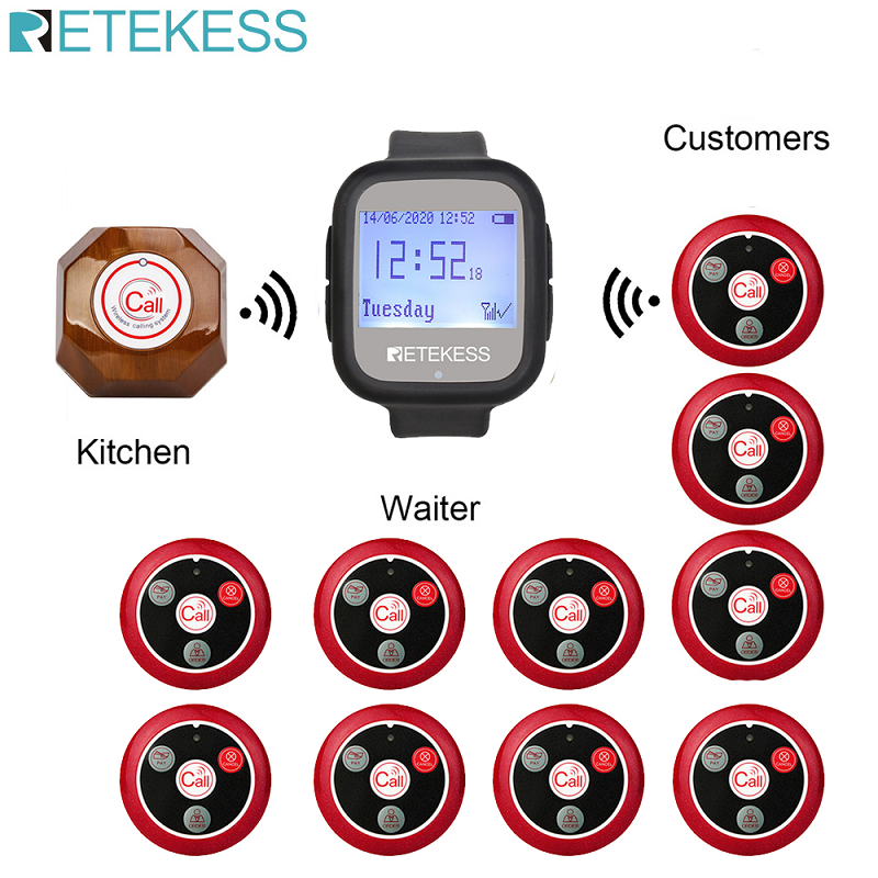 Retekess Wireless Aufruf System Kellner Anruf Pager + TD106 Uhr Empfänger + 10 T117 Vier-key call Buttons Restaurant pager F9453