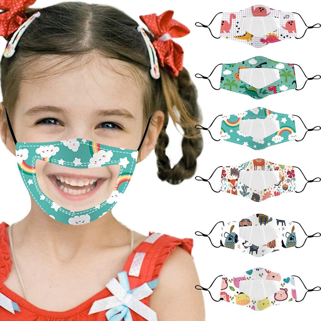 Crianças boca transparente máscara crianças rosto mascarillas respirável reutilizável lavável máscaras ajustáveis festa de natal acessórios