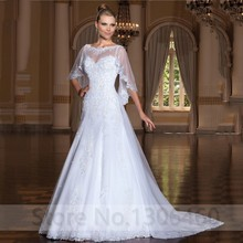 2020 New Arrival A Line Bateau Neckline Sleeveless Tulle Wedding Dress Appliques Lace Bride With Wrap