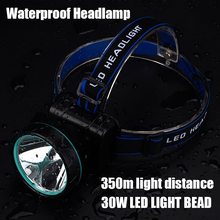 Super Bright 30W head torch LED Rechargeable Headlamp With Battery Linterna Frontal Head Light Torch Lamp For fishing Camping