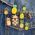 Мультяшные эмалевые броши в виде ананаса, желтые, черные броши на заказ в виде фруктов, джинсовая рубашка, значок на сумку, лацкан, пальто, мо...