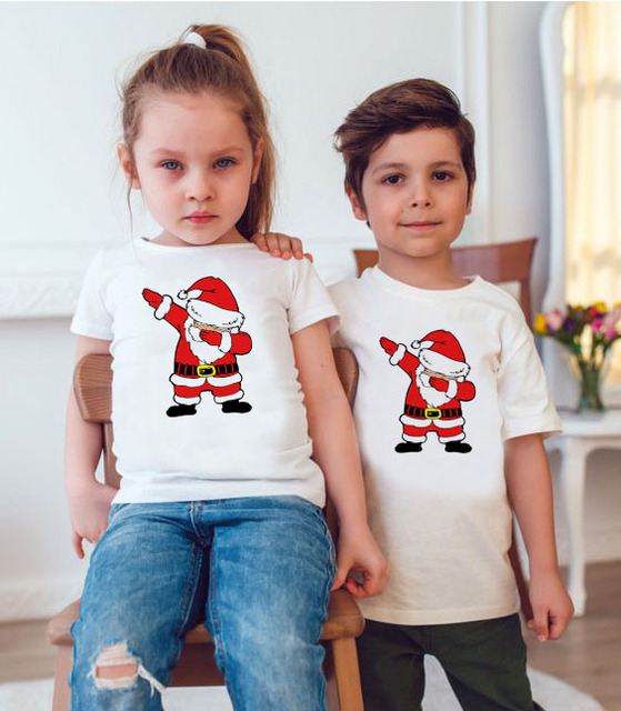 1pc Dabbing Santa Christmas Family Tshirts Boys Girls and Father Mother Christmas Dabbing Clothes Fashion Party Wear Baby Tee 3