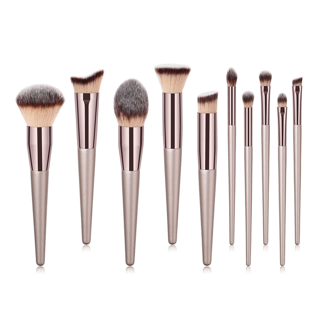 Luxury Champagne Makeup Brushes Foundation Powder Blush Eyeshadow Eyelash Concealer Lip Eye Blending Brush Make Up Brushes Set 3