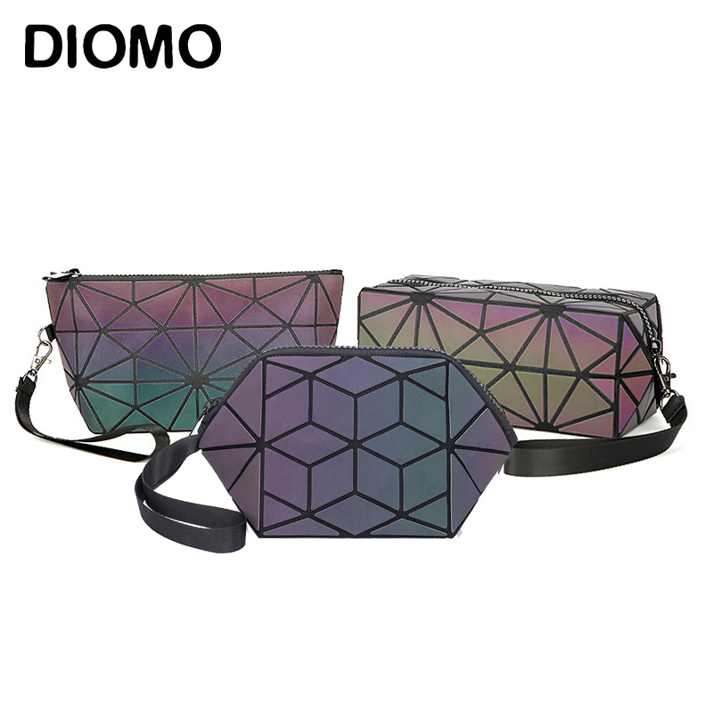 DIOMO  3pcs/set Comestic Bags Women Designer Fashion Luminous Geometric Purse Ladies Make Up Bag Wristlets For Girls