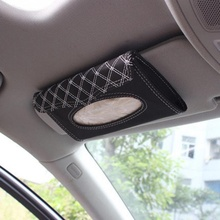 Car Kit Tissue Box Universal PU Sun Visor Hanging Type Embroidery Pattern Cover In Styling