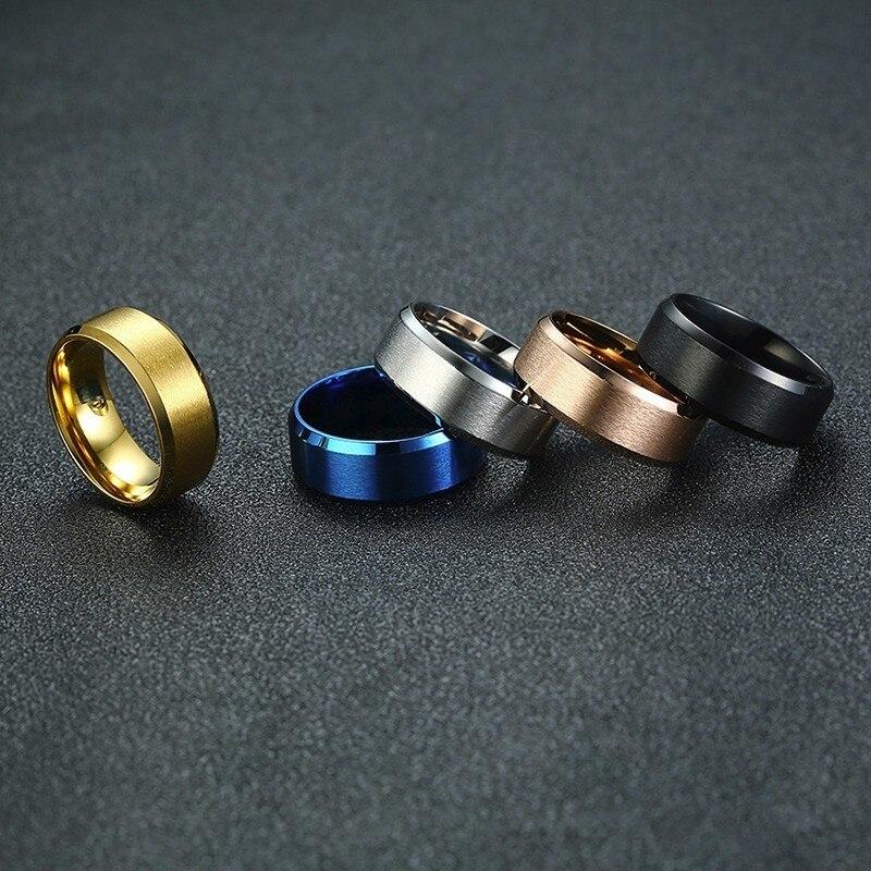 Vnox Klassische Herren Ringe 8mm Edelstahl Band in Schwarz Rose Gold Blau Farbe Einfache Matte Oberfläche Männlichen Schmuck