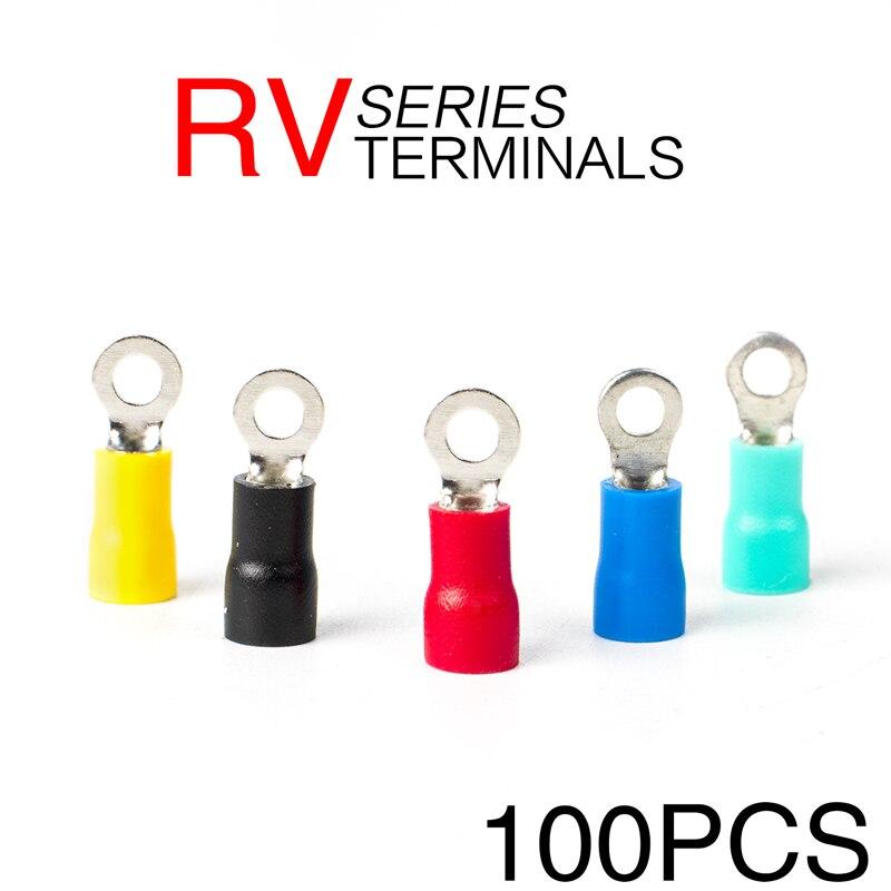 100 pces RV1.25-3 fio redondo que friso o terminal liso do conector do fio que friso a isolação impermeável a.w.g 22-16