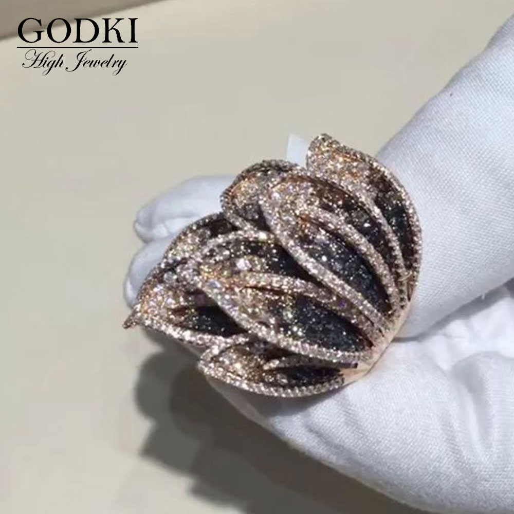 GODKI Luxury Feather Leaf Design Bold Statement Rings with Zirconia Stones 2020 Women Engagement Party Jewelry High Quality