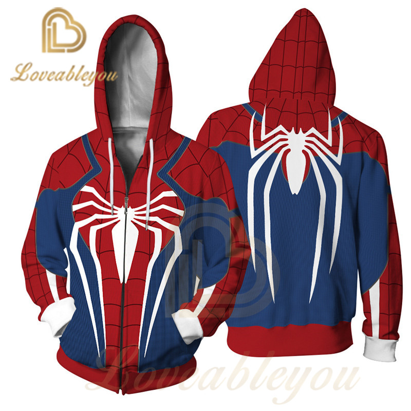 Scarlet Spider Man Hoodie Sweatshirt Cosplay Costume Zipper Coat Jacket