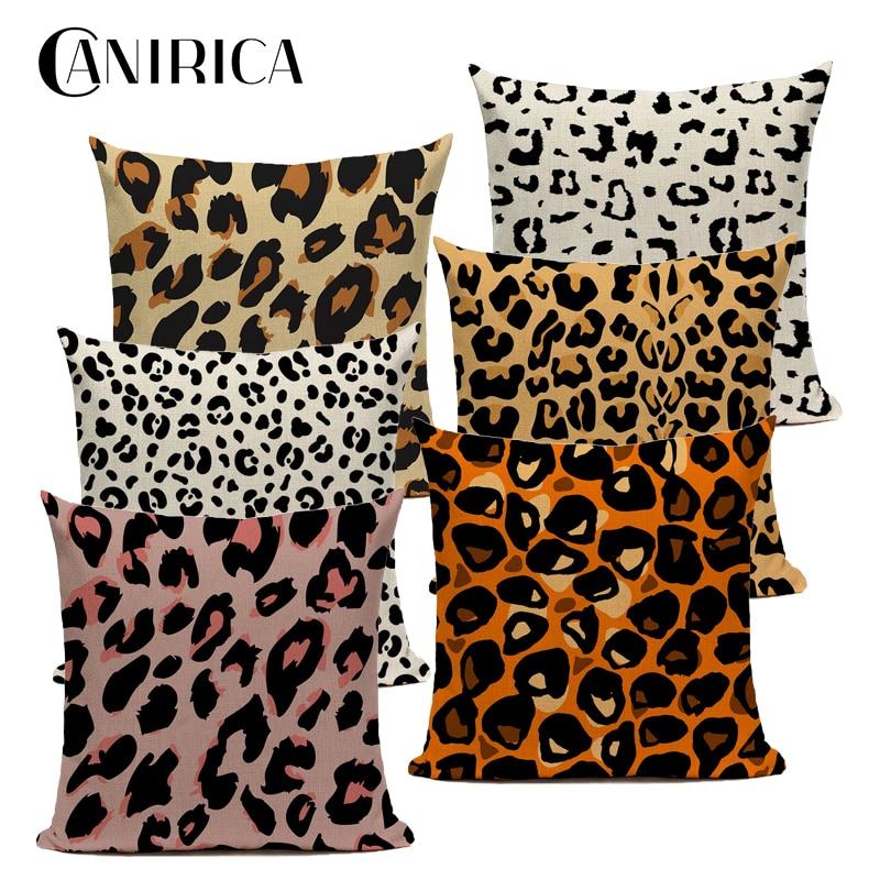 CANIRICA Leopard Cushion Cover Linen Pillow Cover For Living Room Decorative Pillows Farmhouse Decor Pillow Case Customize