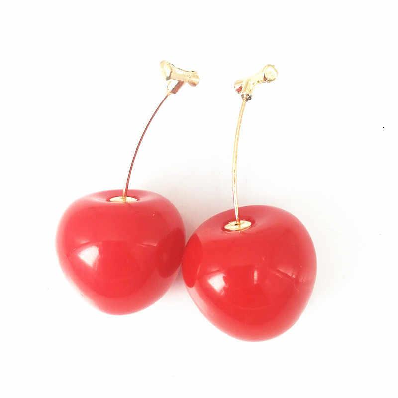 ¡Nueva moda! Pendientes de gota de oro rojo cereza, pendientes de fruta dulce, pendientes de cristal largos para mujer, regalo de joyería para mujer, accesorios colgantes con borla