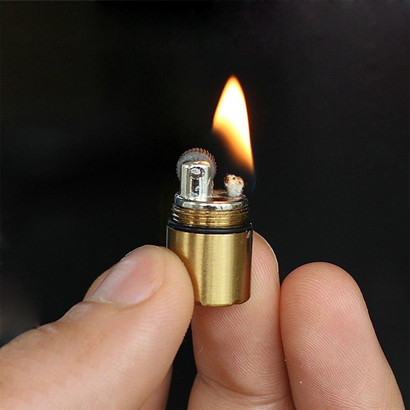 Mini Compact Kerosene Lighter Capsule Gasoline Lighter Men's Key Chain Cigarette Lighter Outdoor Tools Gold Black