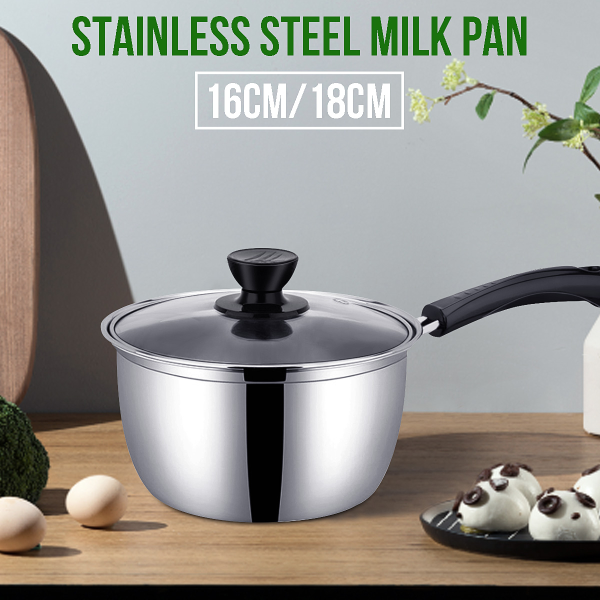 Milk Pan Thickening Non-stick Steam Pot Stainless Steel For Home Kitchenware With Glass Pot Cover 16cm 18cm Cookware Durable