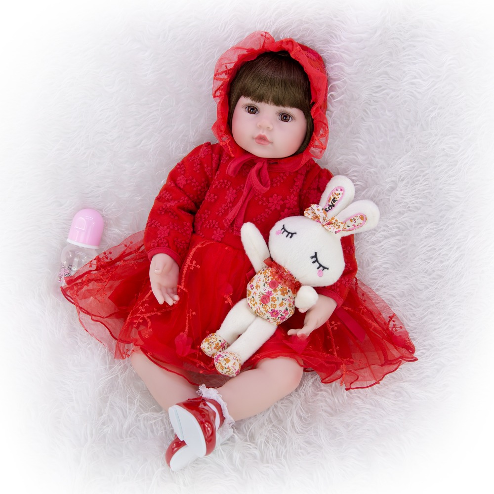 Super nice red dress and silicone bebe reborn doll 58cm  realistic girl baby for children 2019 birthday Christmas gift bebes