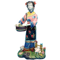 Chinese Antique Porcelain Beautiful Angel Figurines Fashion Dolls Sculptures Vintage Female Collectible Statue Home Decor R2387