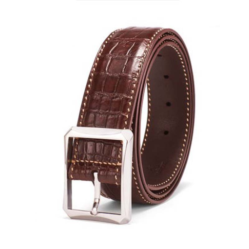 gete new  crocodile  Pin buckle   belt for men  Genuine crocodile leather  Stainless steel  Smooth surface  leisure   men belt