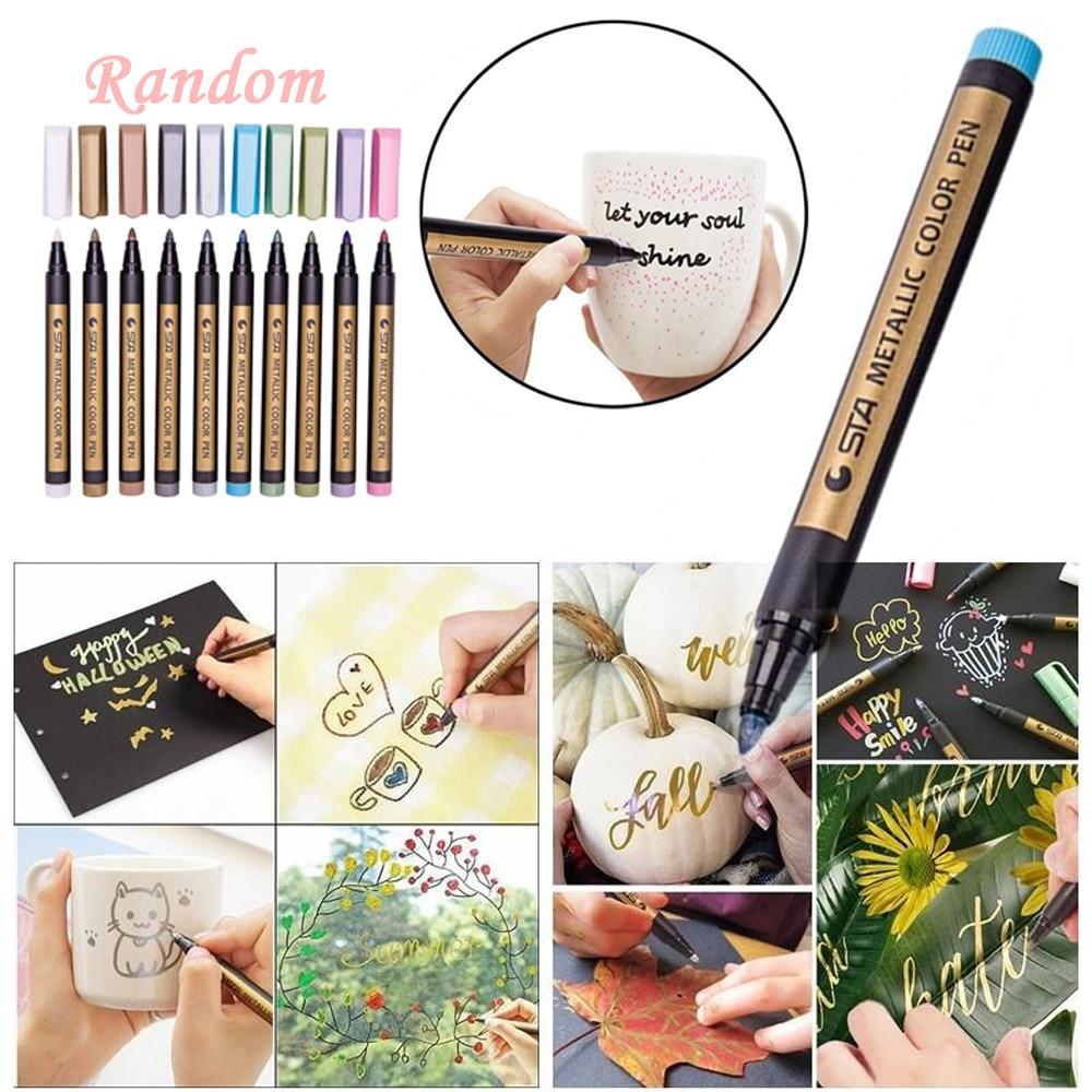 2 Pcs/lot 10color Metallic Colored Ink Water Chalk Pen Scrapbook Photo Album Drawing Watercolor Art Marker Gel Pens Stationery