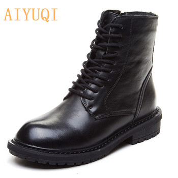 AIYUQI Shoes Boots Women Genuine Leather Ladies Autumn Boots British Style Female Motorcycle Boots Lace-up Women's Ankle Boots aiyuqi women martin boots suede women low heeled 2019 new genuine leather shining boots pointed british wind female ankle boots