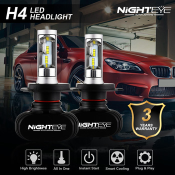 NIGHTEYE 2PCS Super Bright 50W 8000LM H4 9003 HB2 Auto Car LED High/Low Beam Headlight Bulbs 12V Projector Lens 6500K Fog Lights