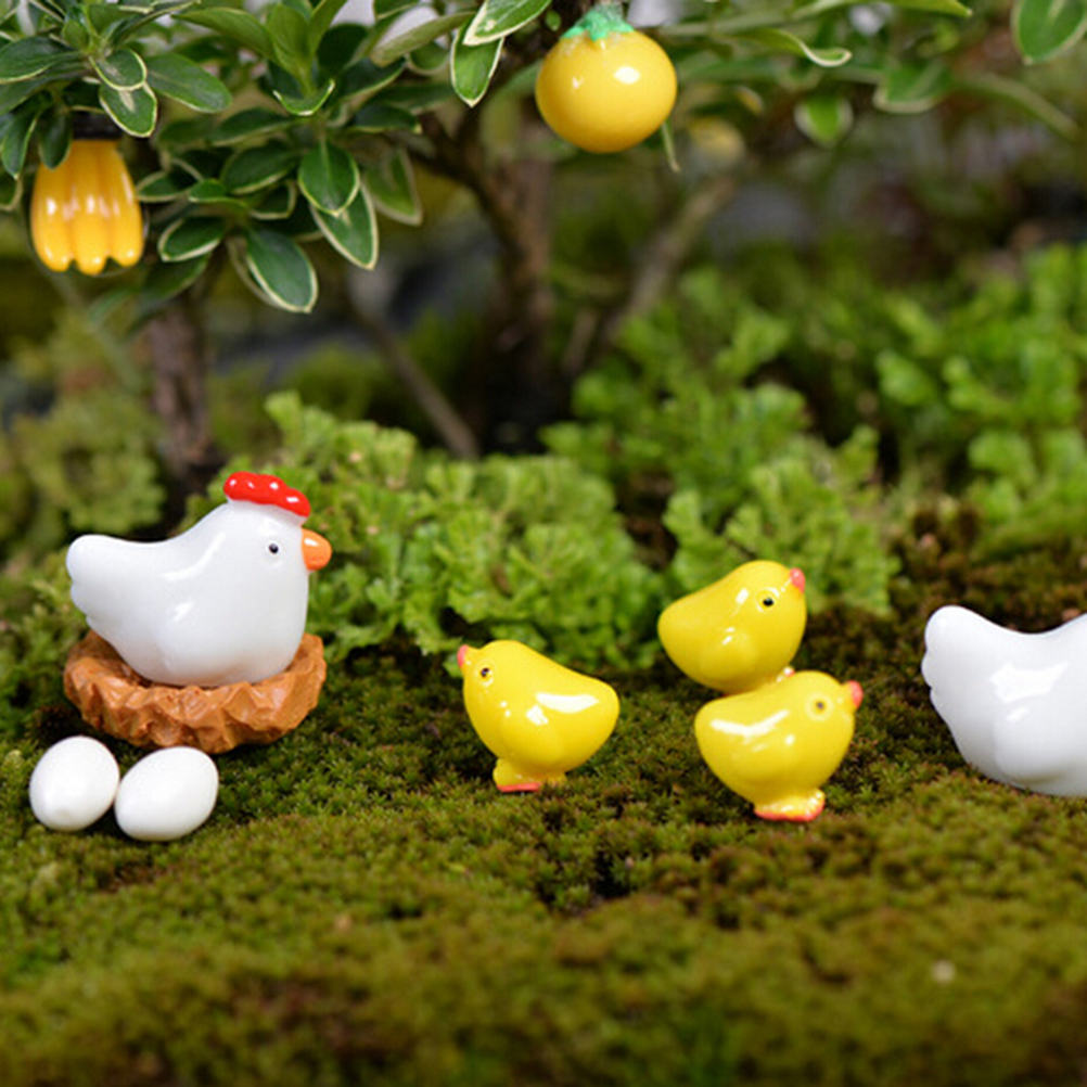 2-13PCS Hen Chicken Chick Egg Nest Small Pasture Statue Miniatures Ornament For DIY Fairy Garden Dollhouse Plant Decoration
