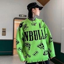 Hip Hop para hombre verde de gran tamaño o Cuello suéter de los hombres