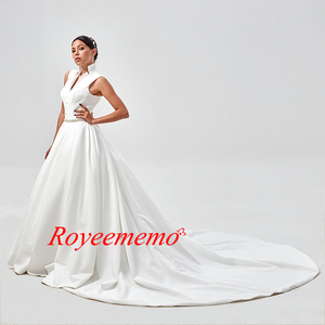 Image 5 - งาช้างแต่งงานกับกระเป๋า Vestido Noiva Elegant ซาตินแขนกุดชุดแต่งงานความยาวชุดเจ้าสาว 2020