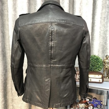 Высококачественная Мужская кожаная куртка средней длины, модная сумка, мотоциклетное пальто, Мужское пальто