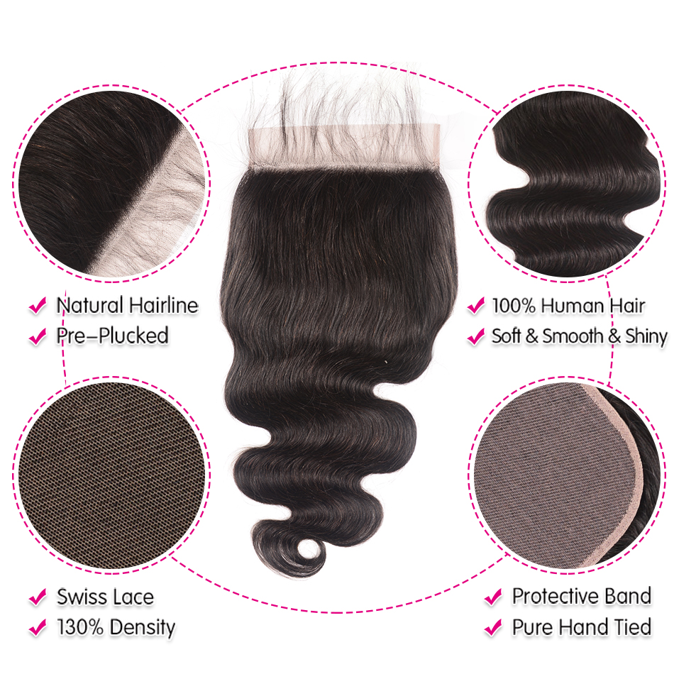 "Image 4 - Unice Hair Brazilian Body Wave 7""x7"" Closure Free Part Human Hair Lace Closure 10"" 18"" Swiss Lace Remy Hair Extension-in Closures from Hair Extensions & Wigs"