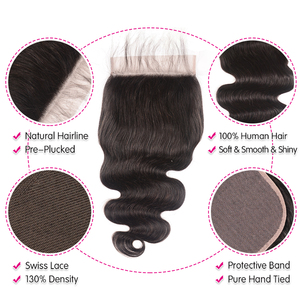 "Image 4 - Unice Hair Brazilian Body Wave 7""x7"" Closure Free Part Human Hair Lace Closure 10"" 18"" Swiss Lace Remy Hair Extension"