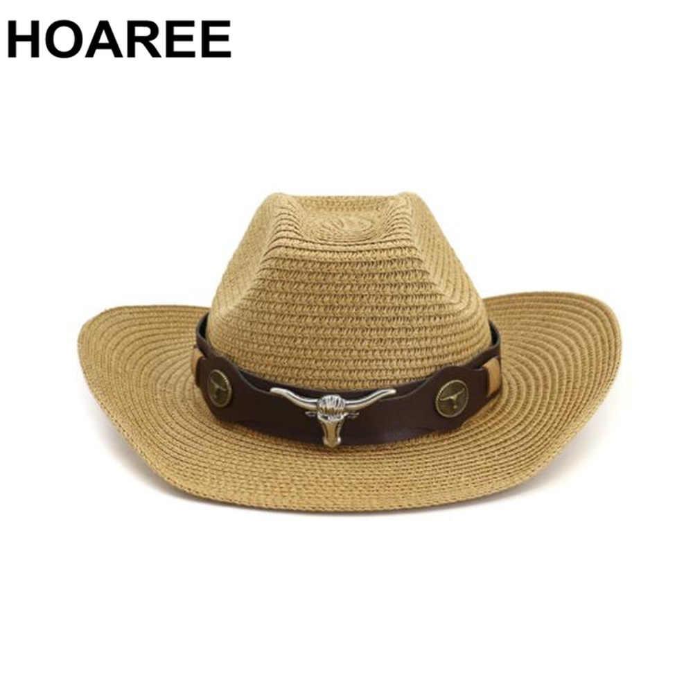 HOAREE Männer Hut Cowboy Western Stroh Panama Hut Gürtel Kuh Schmücken Breite Krempe Hüte Für Sommer Khaki Männlichen Hut 2020 neue Ankunft