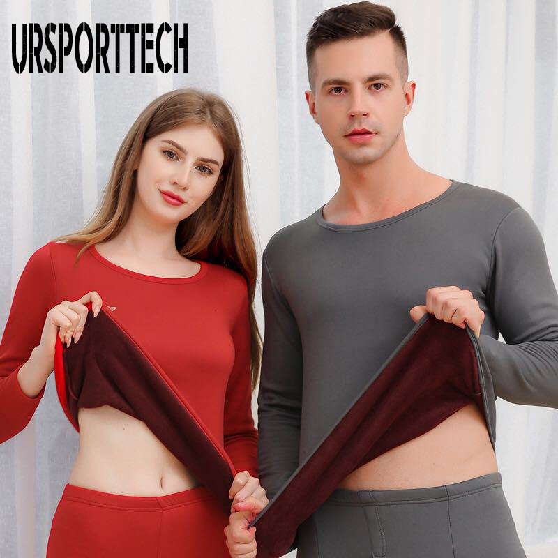 2019 New Plus Velvet Thick Thermal Underwear Set Men Women Long Johns Men Autumn Winter Shirt+pants Sets Warm Thick Plus Velvet