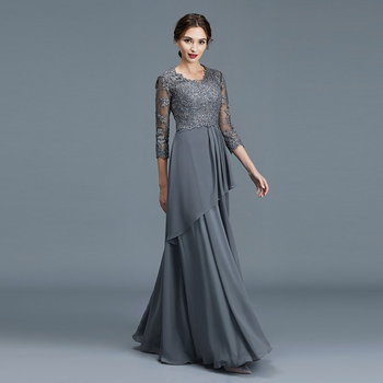 Wholesale Charming Gray Lace Bodice Beaded Mother of the Bride Dresses Three Quarter Sleeves V Neckline Wedding Party Gowns