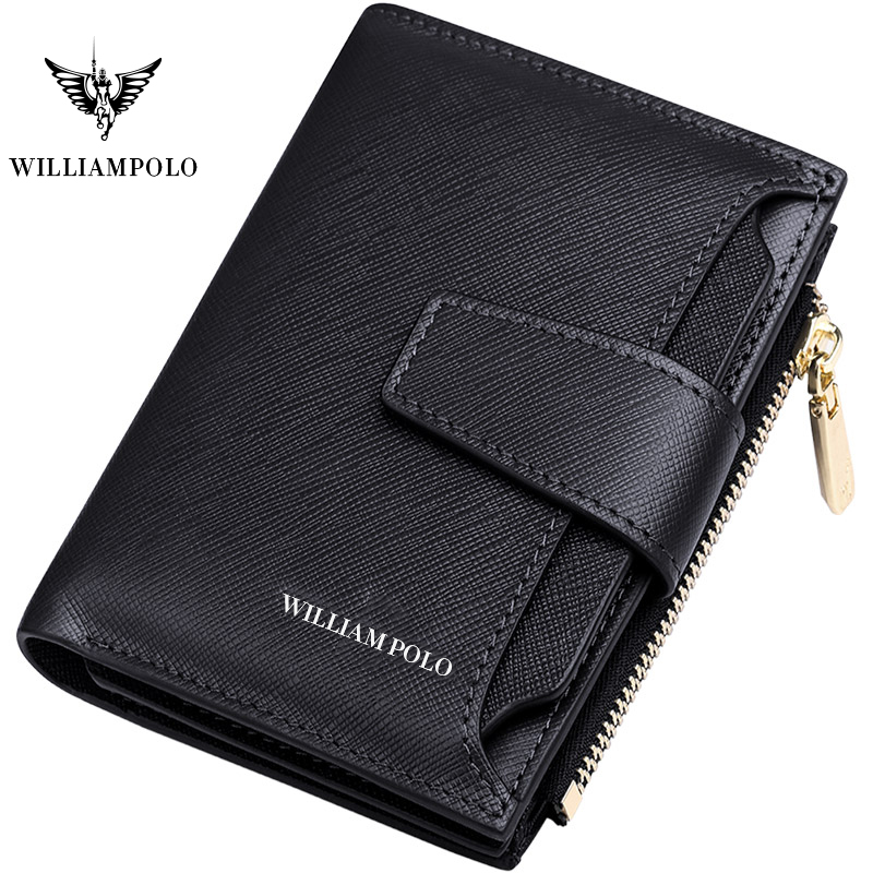 Short Wallet Men Genuine Leather  Casual Credit Card Holder Zipper Packet Compact Purse Cowhide New Design WILLIAMPOLO