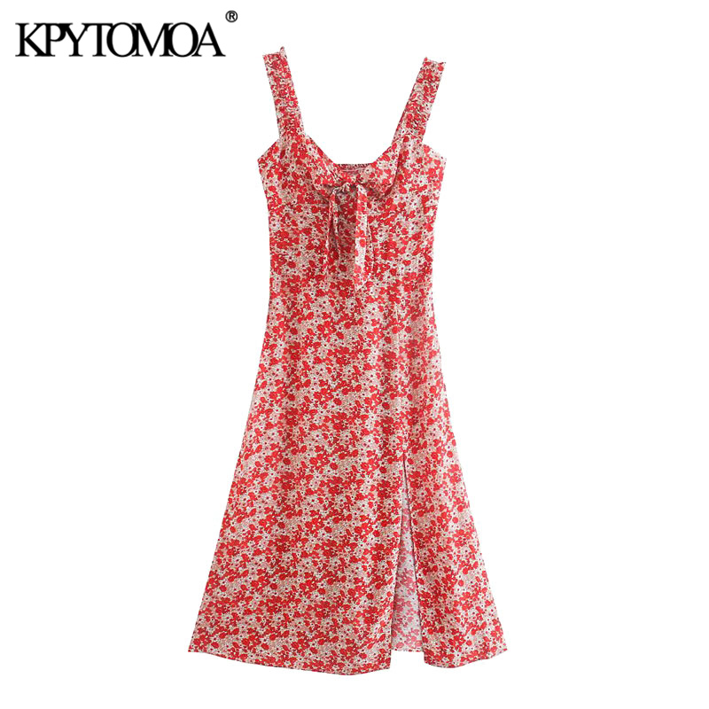 KPYTOMOA Women 2020 Chic Fashion With Bow Tied Floral Print Midi Dress Vintage Wide Straps Front Vents Female Dresses Mujer