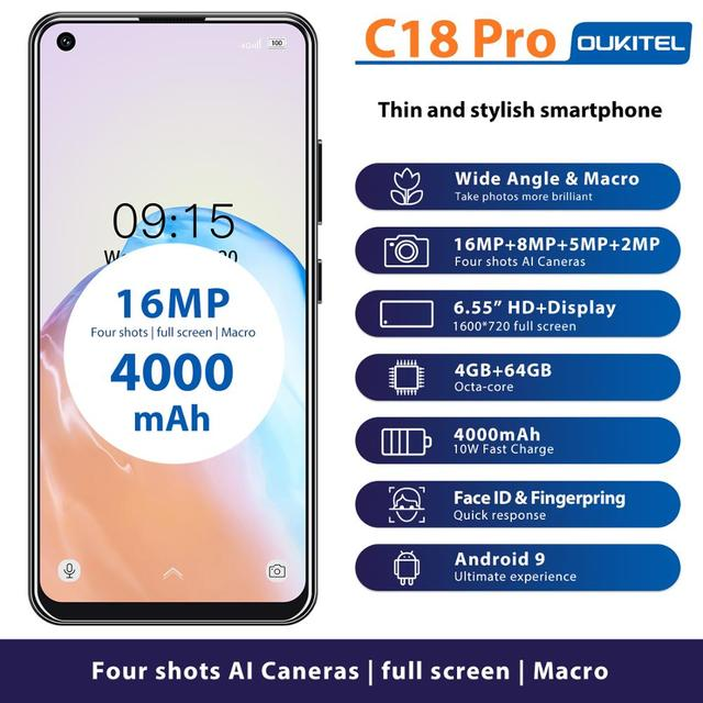 """4G LTE Android 9.0 Smartphone OUKITEL C18 Pro 4G RAM 64G ROM Mobile Phon 6.55""""HD  MTK6757 Octa Core 16MP 4 Cameras 4000mAh 5V2A 1"""