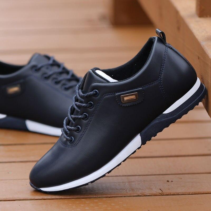 2019 Fashion Loafers Lopen Schoeisel Tenis Feminino Outdoor Ademend Sneakers Mannen Pu Lederen Business Casual Schoenen Voor Mannelijke