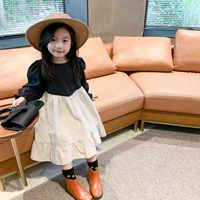 Otoño moda para chicas patchwork contraste hilo vestidos de manga larga niños bebé niña algodón vestido casual