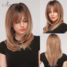 EASIHAIR-Peluca de cabello sintético con flequillo para mujer, cabellera artificial de capas largas y largas, color marrón ombré a marrón claro, para Cosplay