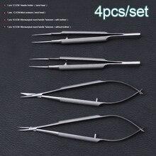 Novo 4 pçs/set instrumentos microcirúrgicos oftalmáticos, 12.5cm tesoura + suporte de agulha + pinças de aço inoxidável ferramenta cirúrgica