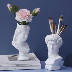 Hars Vaas Woondecoratie Make-Up Borstel Opbergdoos Pennenhouder Europese Stijl Decoratie David Hoofd Sculptuur Model Bruiloft