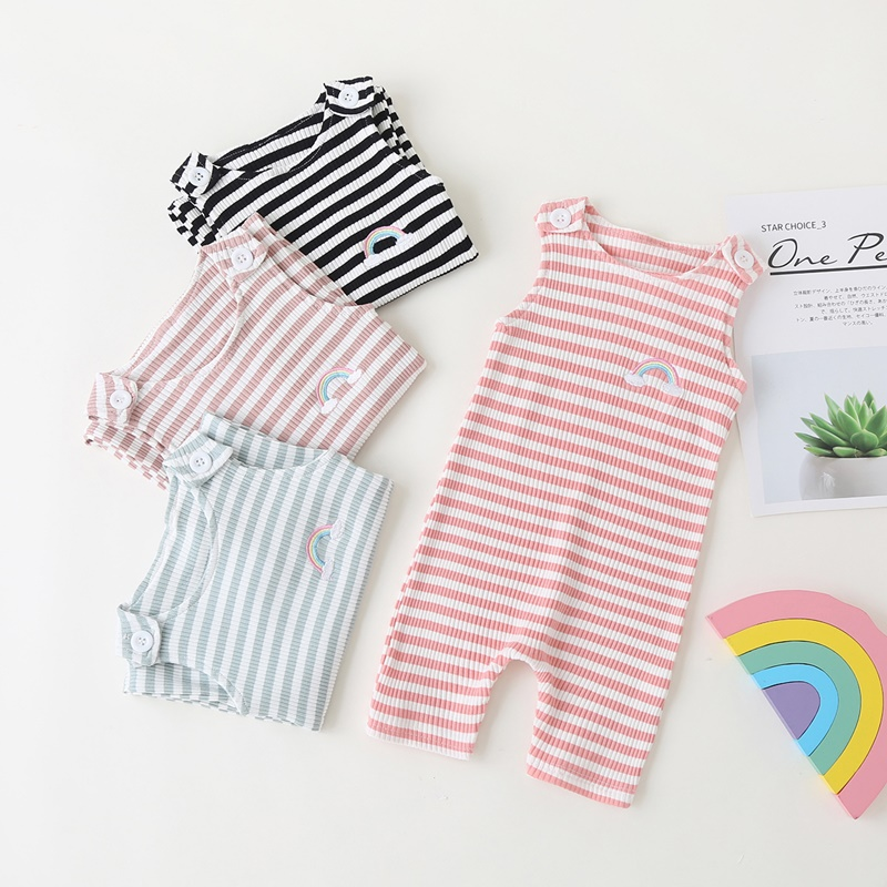 2021 New Baby Boys Girls Clothes Newborn Romper Infant Jumpsuit Summer Cotton Striped Patchwork Rompers Cool Shorts Babies 0-24M 6