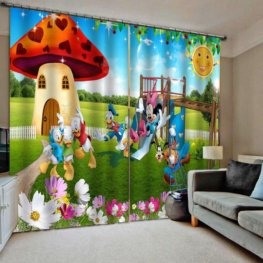 Green modern living room curtains High quality custom 3d curtain fabric cartoon curtains kids curtain