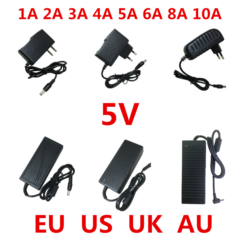 1pcs AC 100V-240V to DC 5V 1A 2A 3A <font><b>5A</b></font> 6A 8A 10A Power Supply Adapter Converter Charger <font><b>5</b></font> <font><b>V</b></font> Volt For LED Strip light image