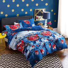 4Pcs Christmas Theme Duvet Cover Soft Polyester Cotton Sheets Pillow Case Bedding Set Quilt Covers Pillowcase Queen/King Textile(China)