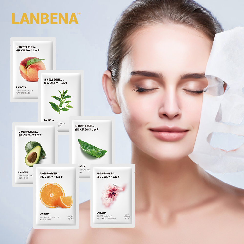 LANBENA, фруктовые маски для лица, персиковые авокадо, алоэ, вишневый цвет, маска для лица, уход за кожей, Отбеливающая увлажняющая Антивозрастн...