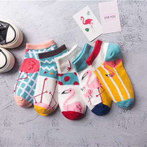 Women Socks Hot Fashion Boat Socks Cartoon Flamingo Cute Funny Happy Warmth Socks All Cotton