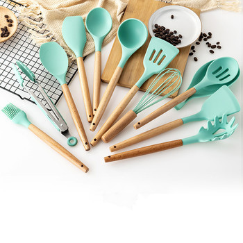 9 sztuk silikonowe drewno Turner łyżka do zupy łopatka szczotka skrobak makaron serwer trzepaczka do jajek kuchnia akcesoria i narzędzia do gotowania naczynia kuchenne tanie i dobre opinie Ekologiczne Zaopatrzony Ce ue Lfgb C231-2 10 Zestawy narzędzi do gotowania Cooking Tools Sets Silicone + Wooden Handle
