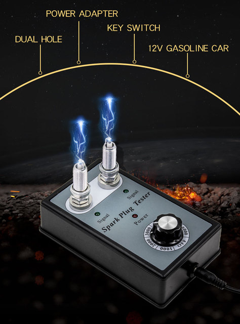 Spark Plug Tester Two Testing Hole Adjustable Ignition Plug Analyzer for 12V Gasoline Petrol Cars Car Sparking Plug Tester