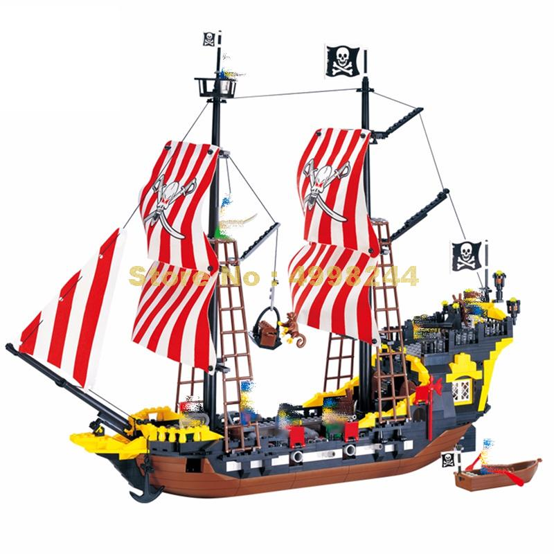 308 780pcs black pearl pirates ship enlighten building blocks 9 figures Bricks Toy
