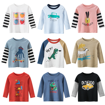 Kids Boys T-shirts Baby Girls Long Sleeve Cartoon Tops Children Autumn Spring Cotton Clothing Clothes  Boy Girl T Shirts Toddler